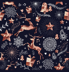 Christmas season copper deer seamless pattern vector