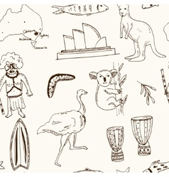 collection australia doodle seamless vector image