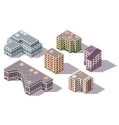 collection isometric high rise buildings vector image