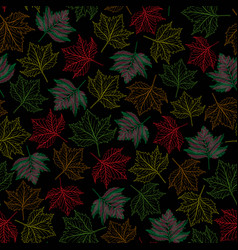 Colorful outlined maple fall leaves vector