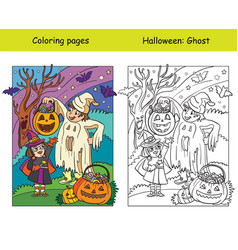 Coloring with colored example halloween ghost vector