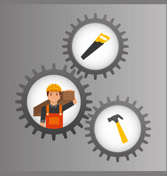construction worker inside mechanical gear and vector image