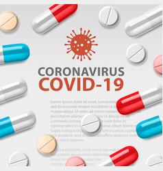 Coronavirus pills pandemic vector