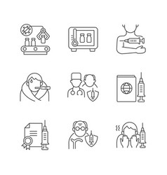 covid19 vaccination linear icons set vector image