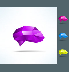 Creative brain in low poly geometrical design vector image
