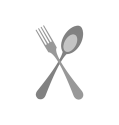 Crossed fork and spoon icon flat style vector