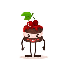 cute cake with cherries and funny face humanized vector image