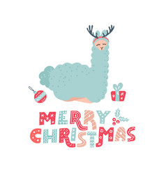 cute cartoon alpaca with overhead antlers vector image
