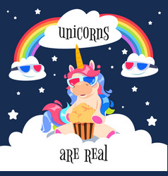 cute magical unicorn with rainbow fantasy pony on vector image