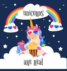 Cute magical unicorn with rainbow fantasy pony vector