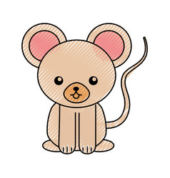 Cute scribble mouse cartoon vector