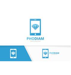 Diamond and phone logo combination jewelry vector