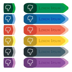 Dislike icon sign Set of colorful bright long vector image