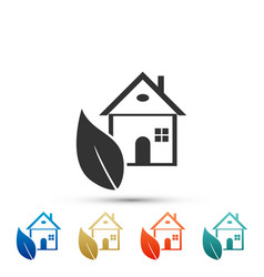 eco house icon isolated on white background vector image