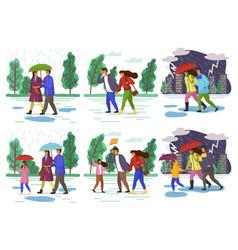 Family walking in rain with umbrella in autumn vector
