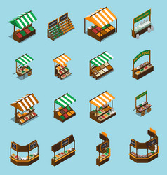 Farm market stall set vector