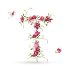 Floral letter T for your design vector image