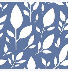 floral seamless pattern on blue leaf flourishing vector image
