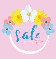 Flower banner with text summer sale on pink vector