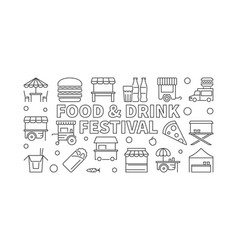 Food and drink festival concept outline vector
