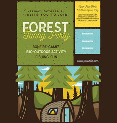 forest family party flyer a4 format camping vector image