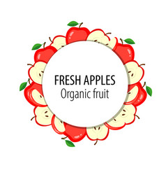 fresh apples label organic vector image