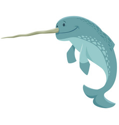 funny narwhal cartoon animal character vector image