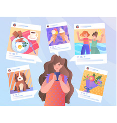 Girl on mobile phone in social media post concept vector