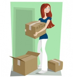 girl with boxes vector image