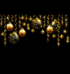 glass christmas evening balls on a black vector image