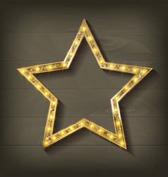 Gold star on wooden background vector