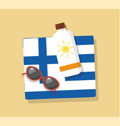 greece tourism towel in the sand with sun glasses vector image