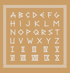 greek antique font trendy english creative vector image