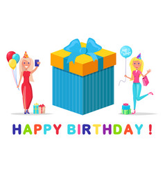 happy birthday party people with presents in box vector image