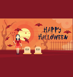 happy halloween greeting card vampire at night on vector image