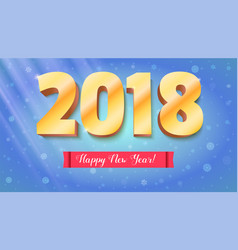 Happy new year 2018 volumetric numbers from gold vector