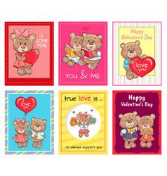 Happy valentines day set posters true love set vector