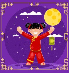 Harvest moon mid-autumn festival holiday asia vector