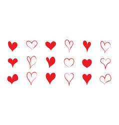 heart shapes for love red icons for valentine day vector image