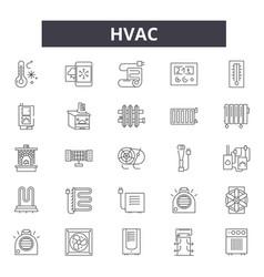 Hvac line icons signs set outline vector