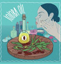 Jojoba oil used for skin care vector