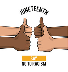 Juneteenth day say no to racism hands thump up vector