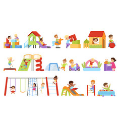 kids having fun at playground set boys and girls vector image