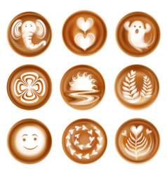 Latte art realistic set vector