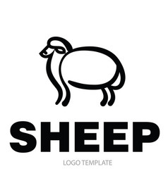 Linear stylized drawing of sheep vector