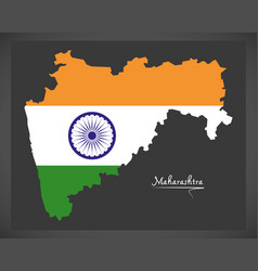 Maharashtra map with indian national flag vector