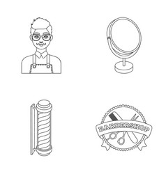 Male hairdresser sign mirror and other equipment vector