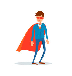 Man hero in mask and mantle businessman support vector