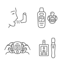 Medical devices linear icons set vector