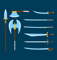medieval weapon icon and label flat style logo vector image